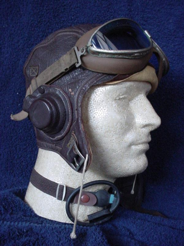 Leather Aviator Helmet and Goggles