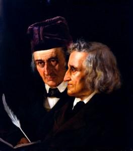 Wilhelm (esquerda) e Jacob Grimm (direita), pintura de 1855 por Elisabeth Jerichau-Baumann.