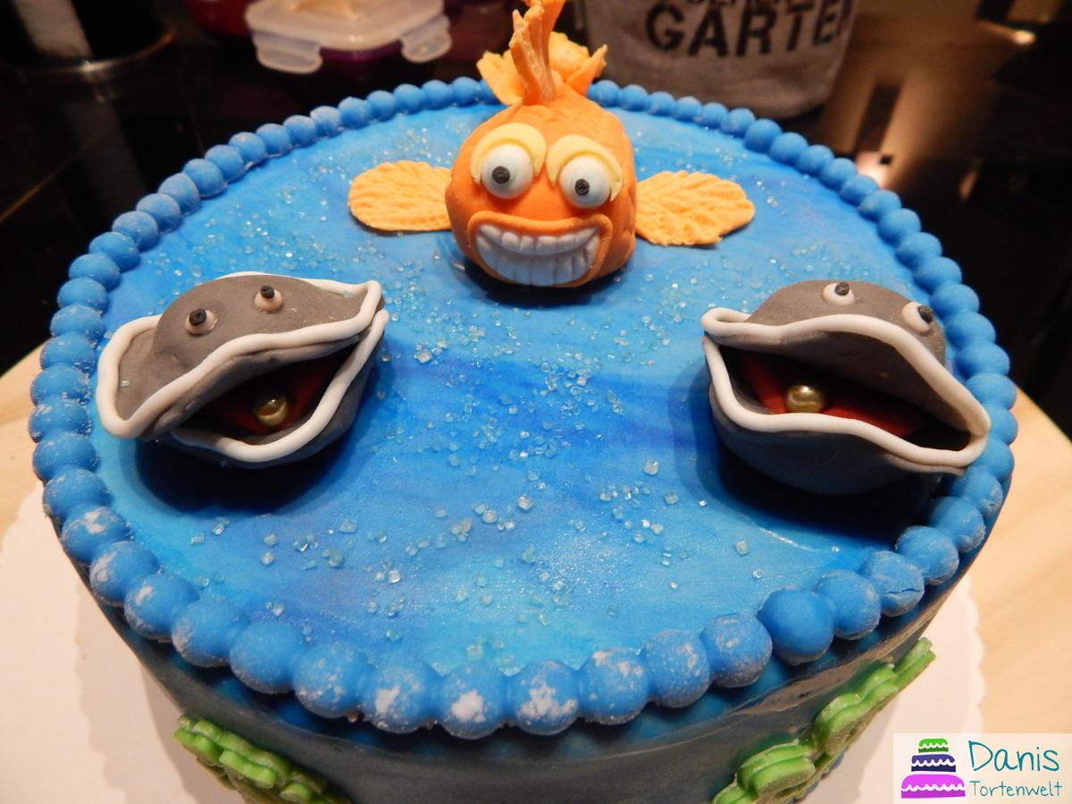 Motivtorte mit Nemo Fisch und Muscheln von danis tortenwelt