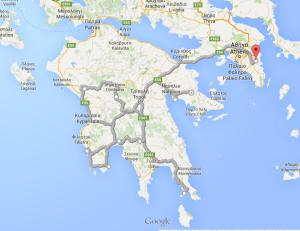Rejsebeskrivelse Peloponnese rundt