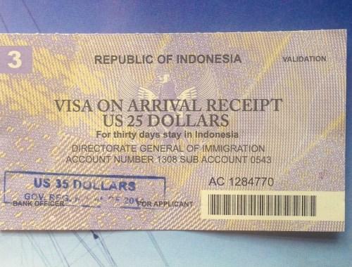 Visa on Arrival receipt