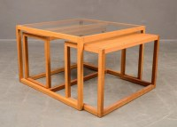 SOLD Danish glass top coffee table with two nesting tables ...