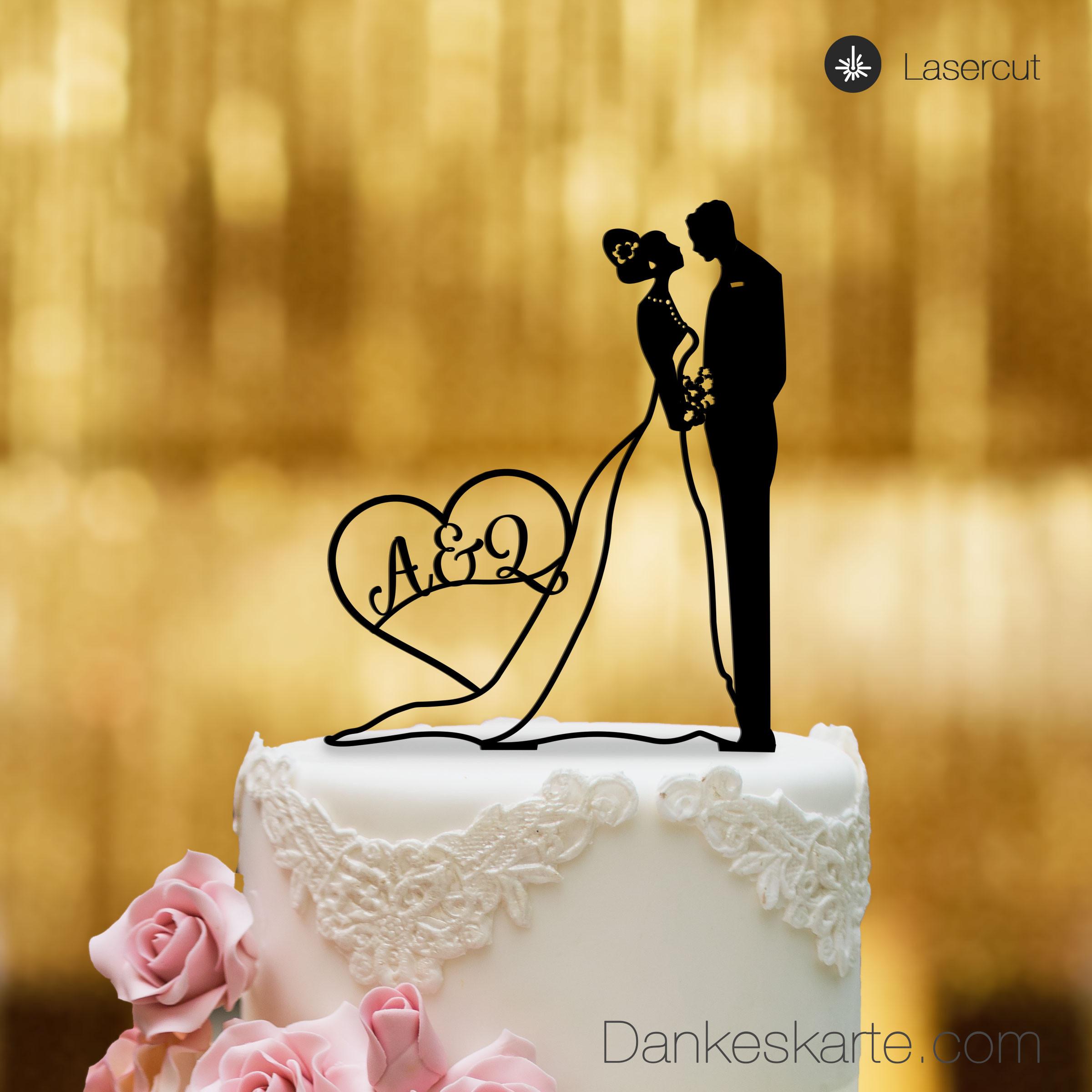 Cake Topper Brautpaar mit Herz personalisiert  Schwarz