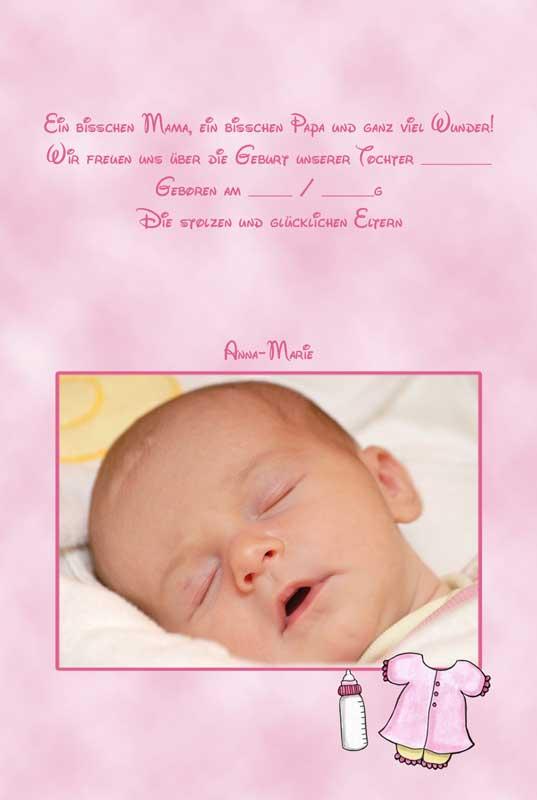 Geburtskarten Dankeskarten Geburt  Babykarten Mdchen