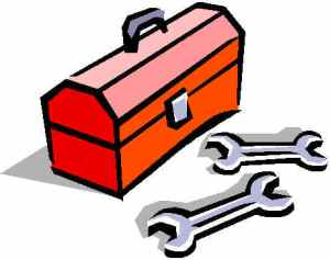 A picture of a red toolbox and some spanners