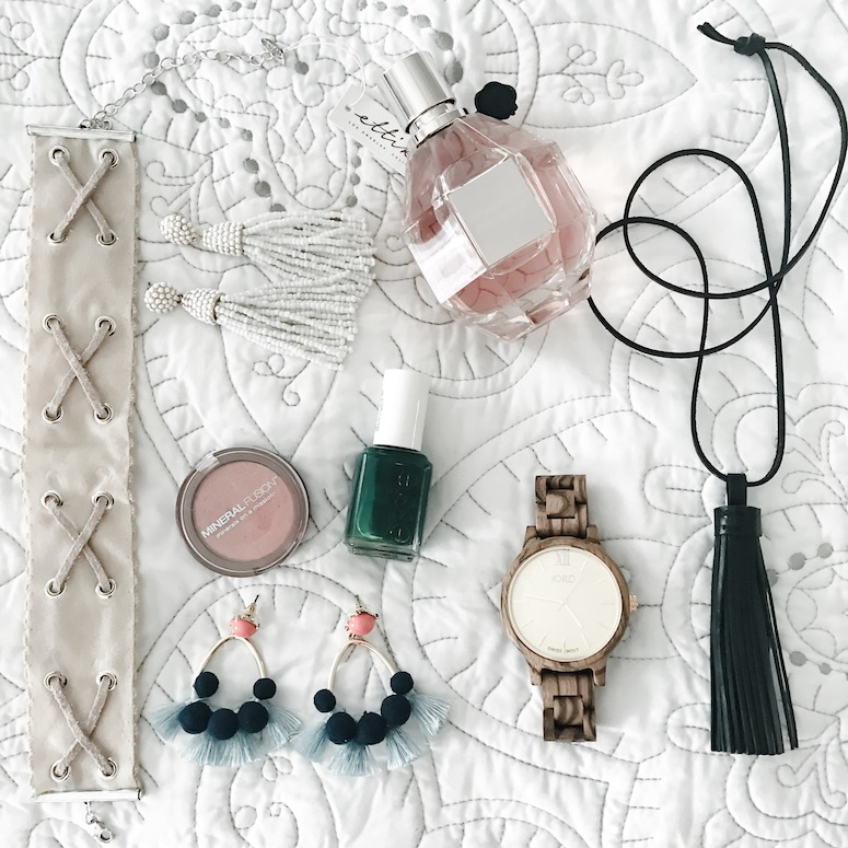Flower bomb, Bauble Bar, Mineral Fusion, Madewell, FreePeople, Wood Watch, Essie