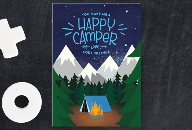 Happy Camper Valentine for boys