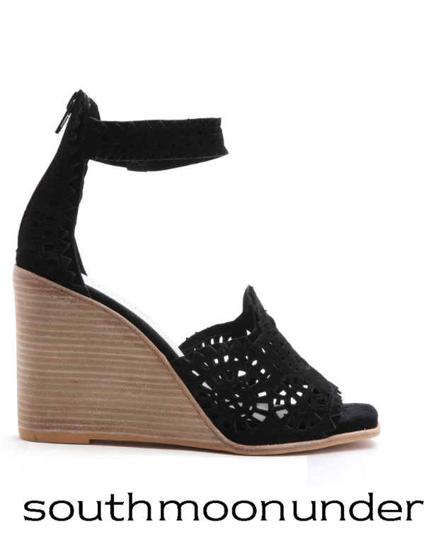 JEFFREY CAMPBELL CUTOUT ANKLE STRAP WEDGE HEELS