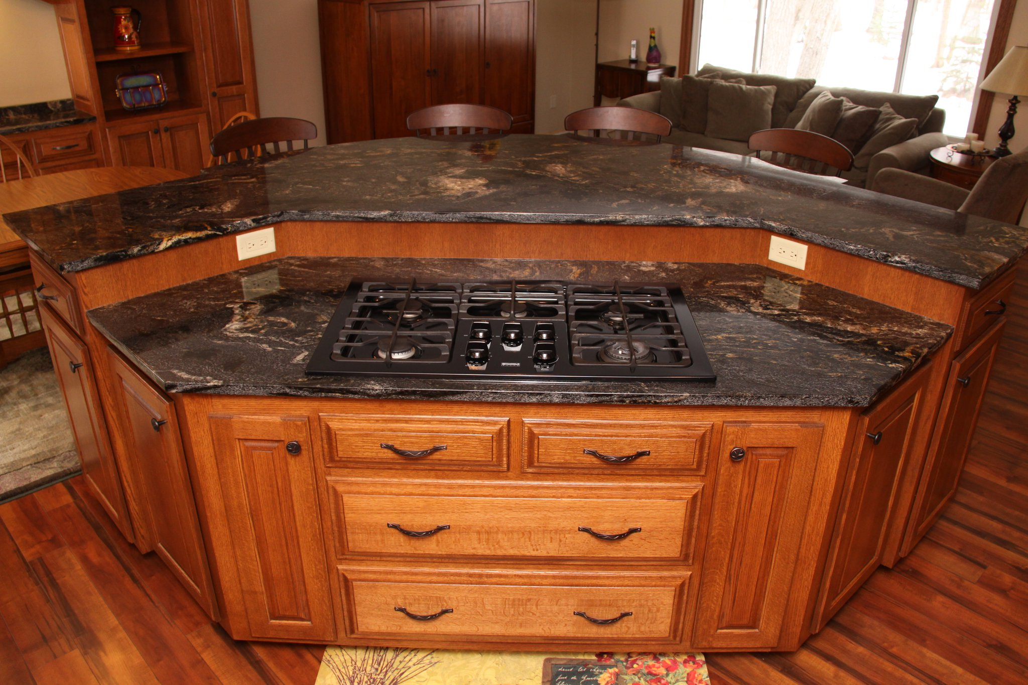 kitchen island with sink and stove top high table sets custom cabinets mn
