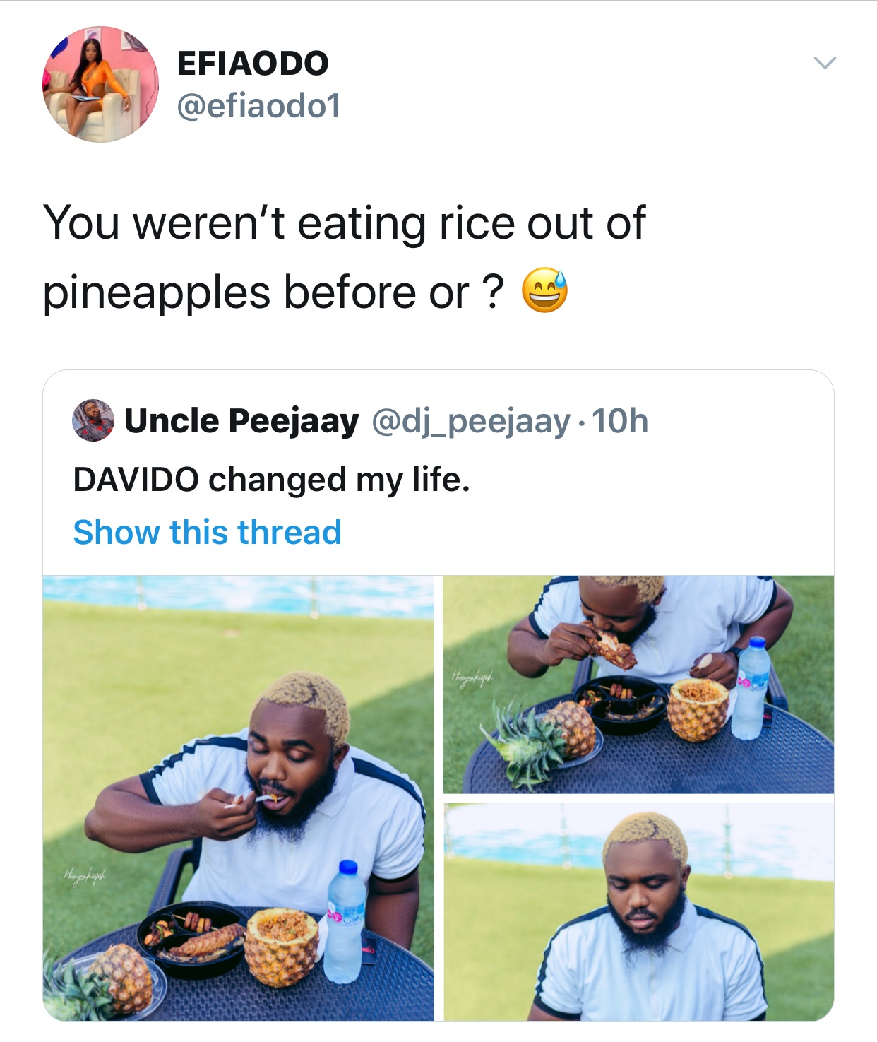Efia Odo Savagely Trolls a guy who eat rice from pineapple and claim Davido Changed his life.