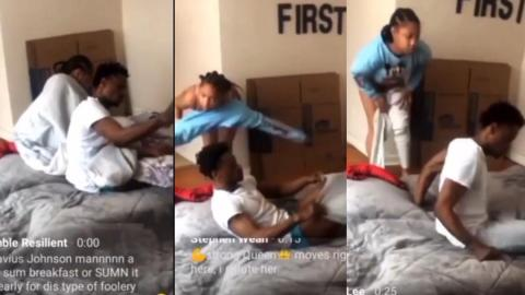 Lady catches boyfriend sleeping with another woman in her room, records the scene live on Facebook [Video]
