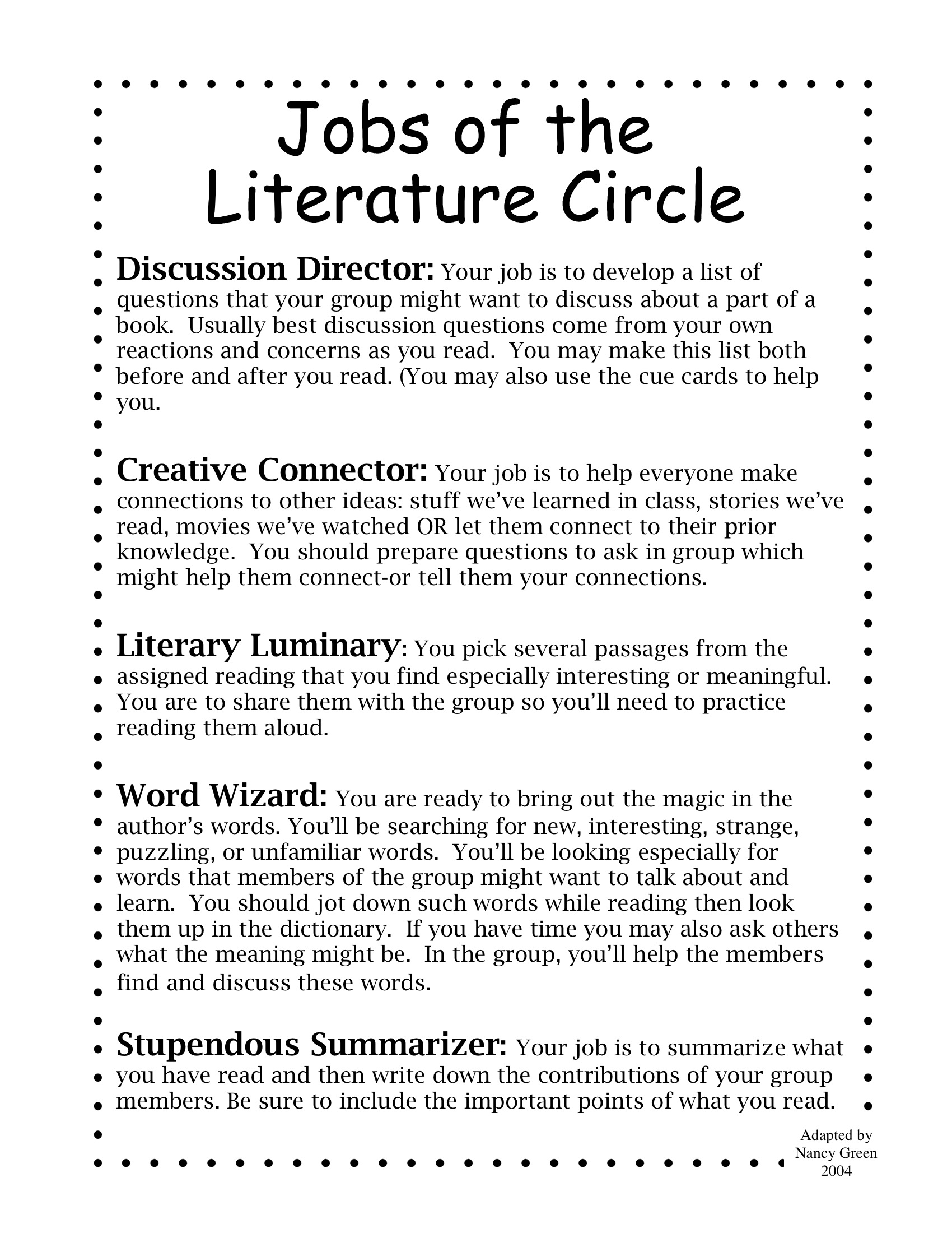 Literature Circle Handouts Not My Work 2nd 6th Grade