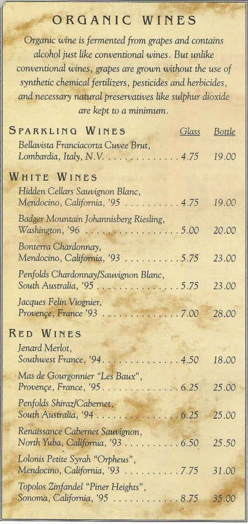 Josephina's revised wine list after Perlman's fine tuning.