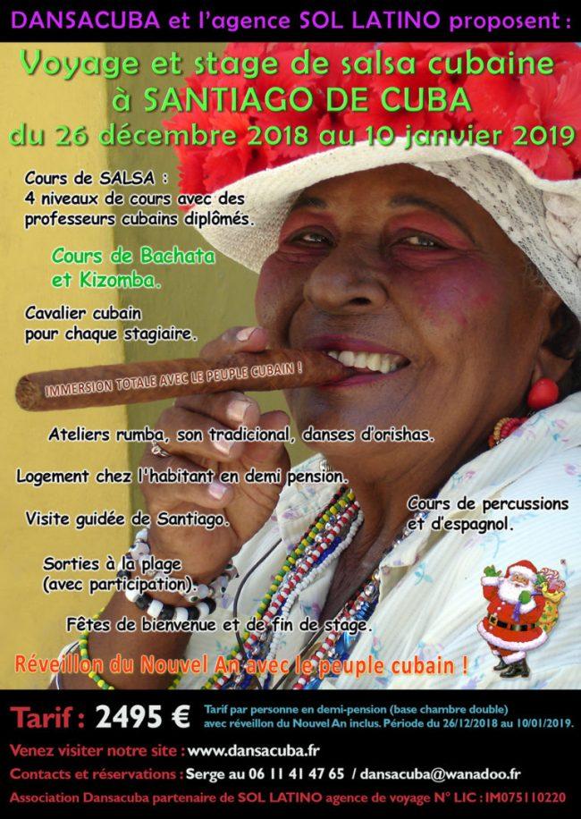 Stages de danse salsa de Dansacuba du 26 décembre 2018 au 10 janvier 2019