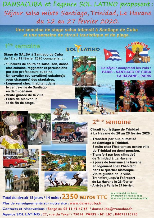 Séjour Dansacuba Salsa mixte 12 au 27 fév 2020