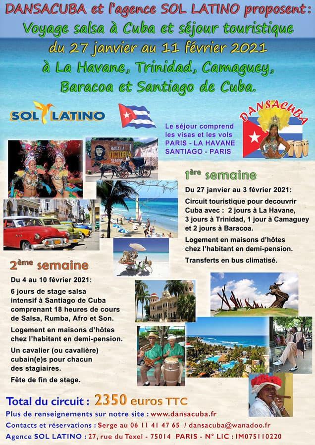 Flyer du Séjour Mixte Baracoa départ le 27 janvier 2021