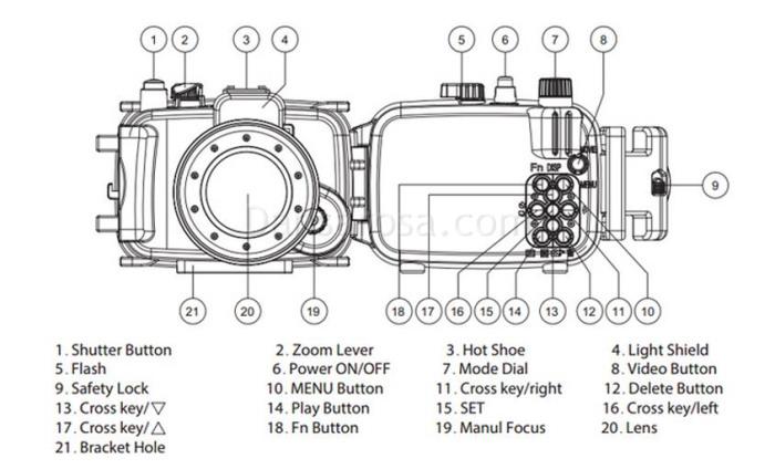60m Meikon Nikon D800 Underwater Housing Waterproof Case