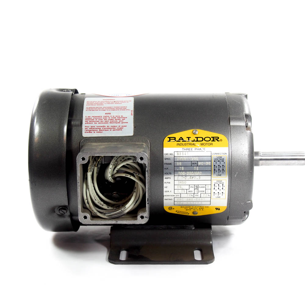 medium resolution of 3 4 hp 3 phase general purpose motor baldor m3541