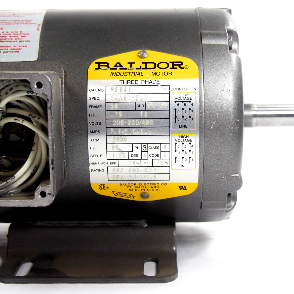 hight resolution of 3 4 hp 3 phase general purpose motor baldor m3541