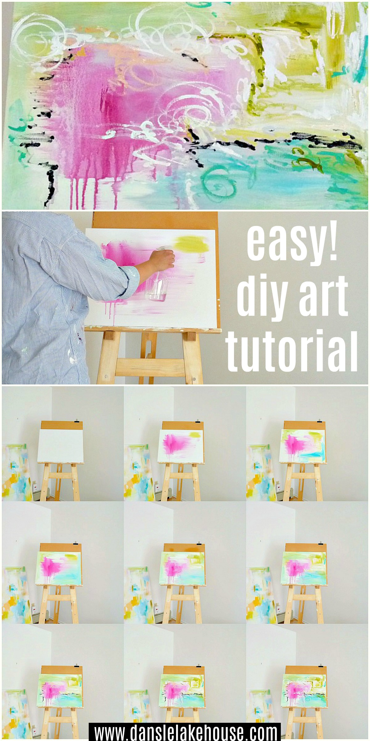 Easy DIY Abstract Art Tutorial with Step by Step Instructions with Photos