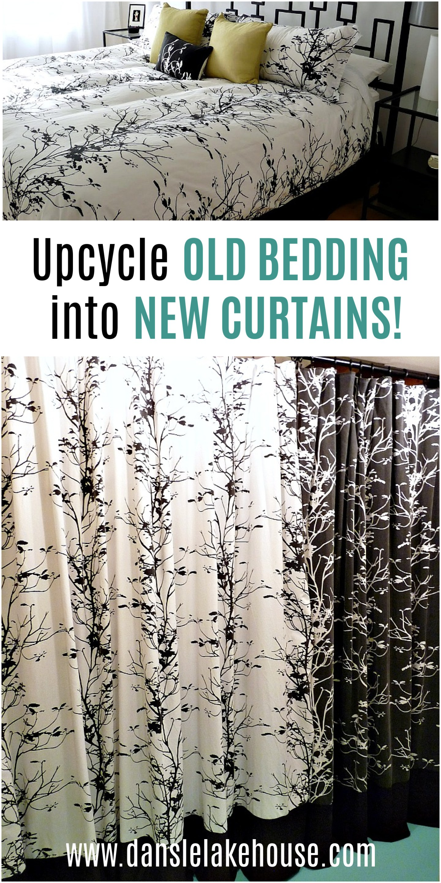 Upcycle bedding into new curtains