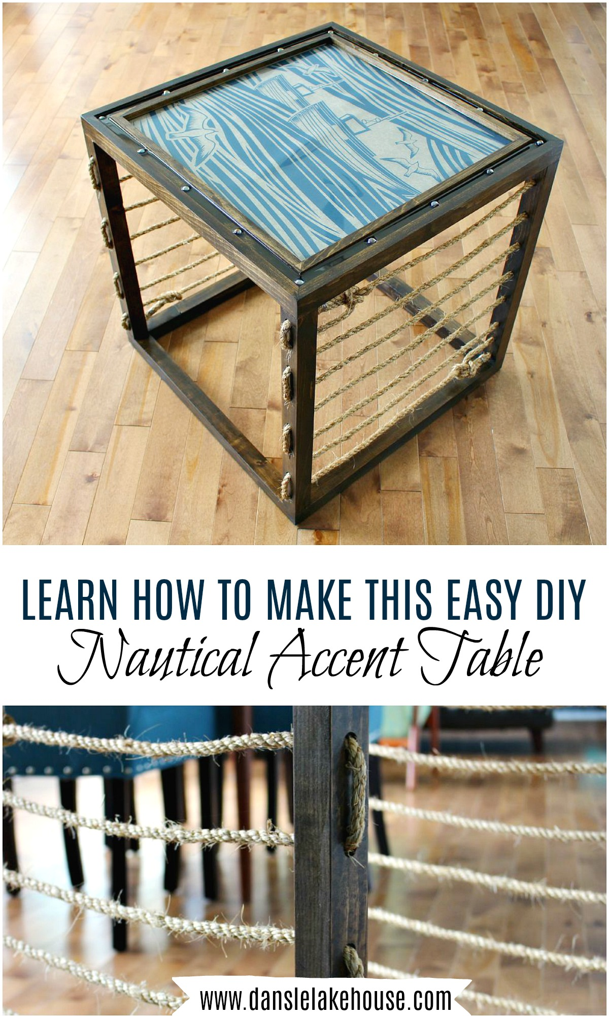 DIY Nautical Accent Table - Learn How to Build a Side Table, You'd Be Surprised How EASY it is! #nautical #coastaldecor #diytabe #woodworking
