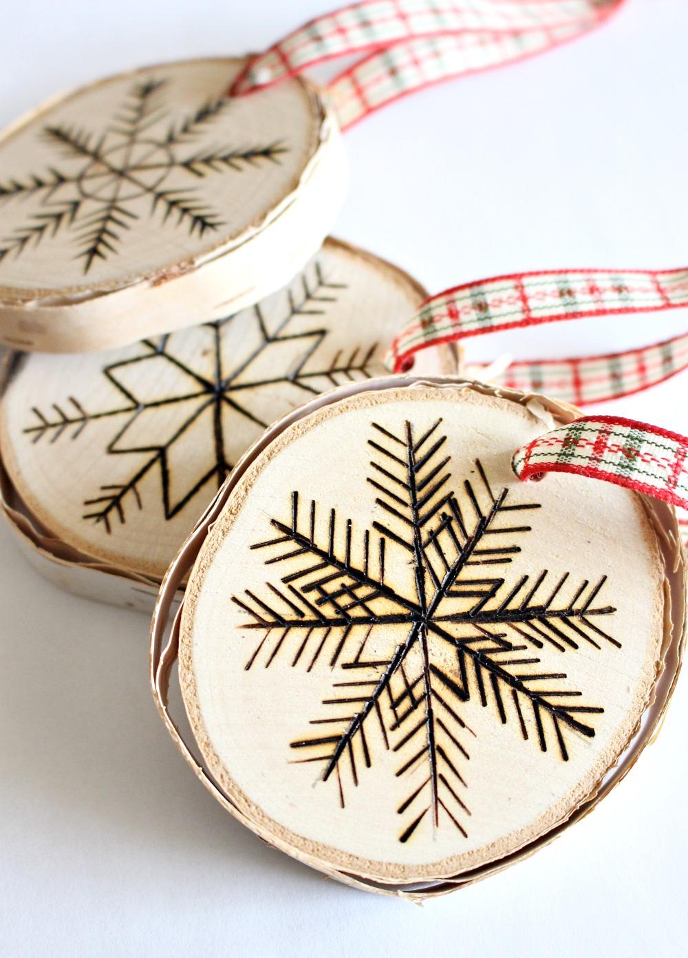 DIY Wood Burned Birch Slice Ornament