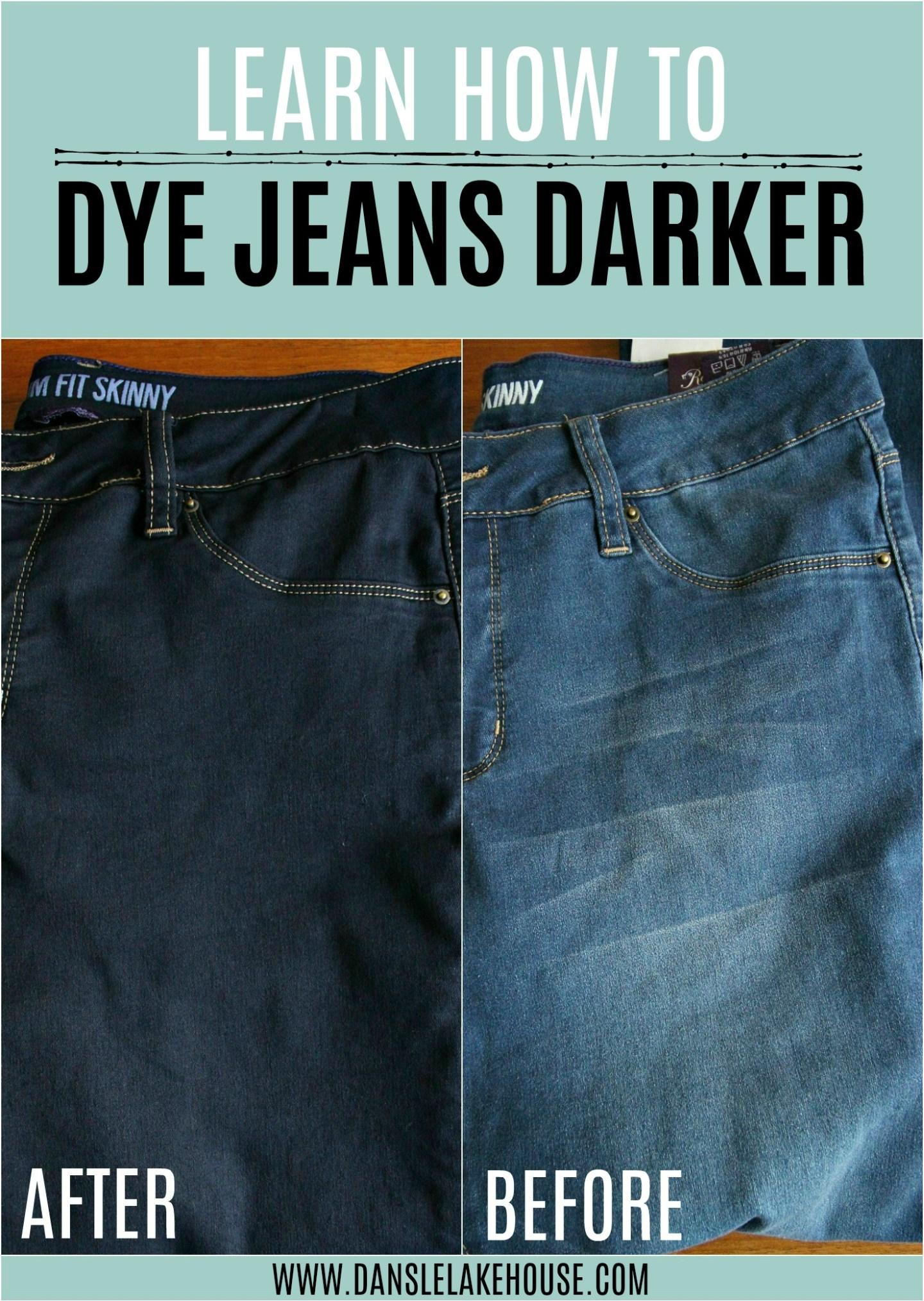 Learn how to dye jeans darker with these easy clothes dyeing tutorial. Dye new or old jeans a dark blue in the wash. #dyeing #dyeingclothes