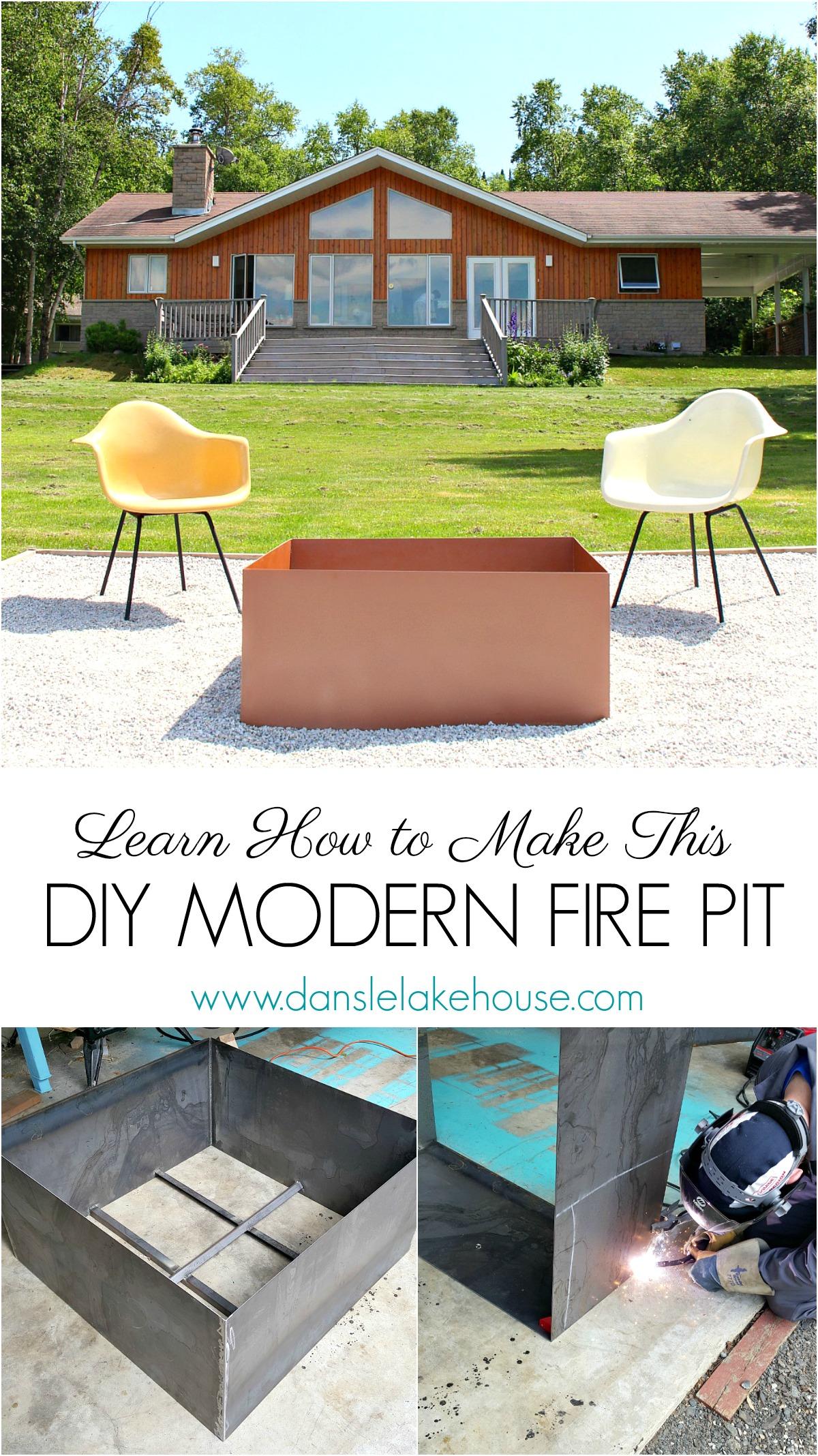 Welded DIY Fire Pit   Modern Fire Pit Makeover for Cute Lake House   Dans le Lakehouse #firepit #diy #diyfirepit #weldingtutorials #welding