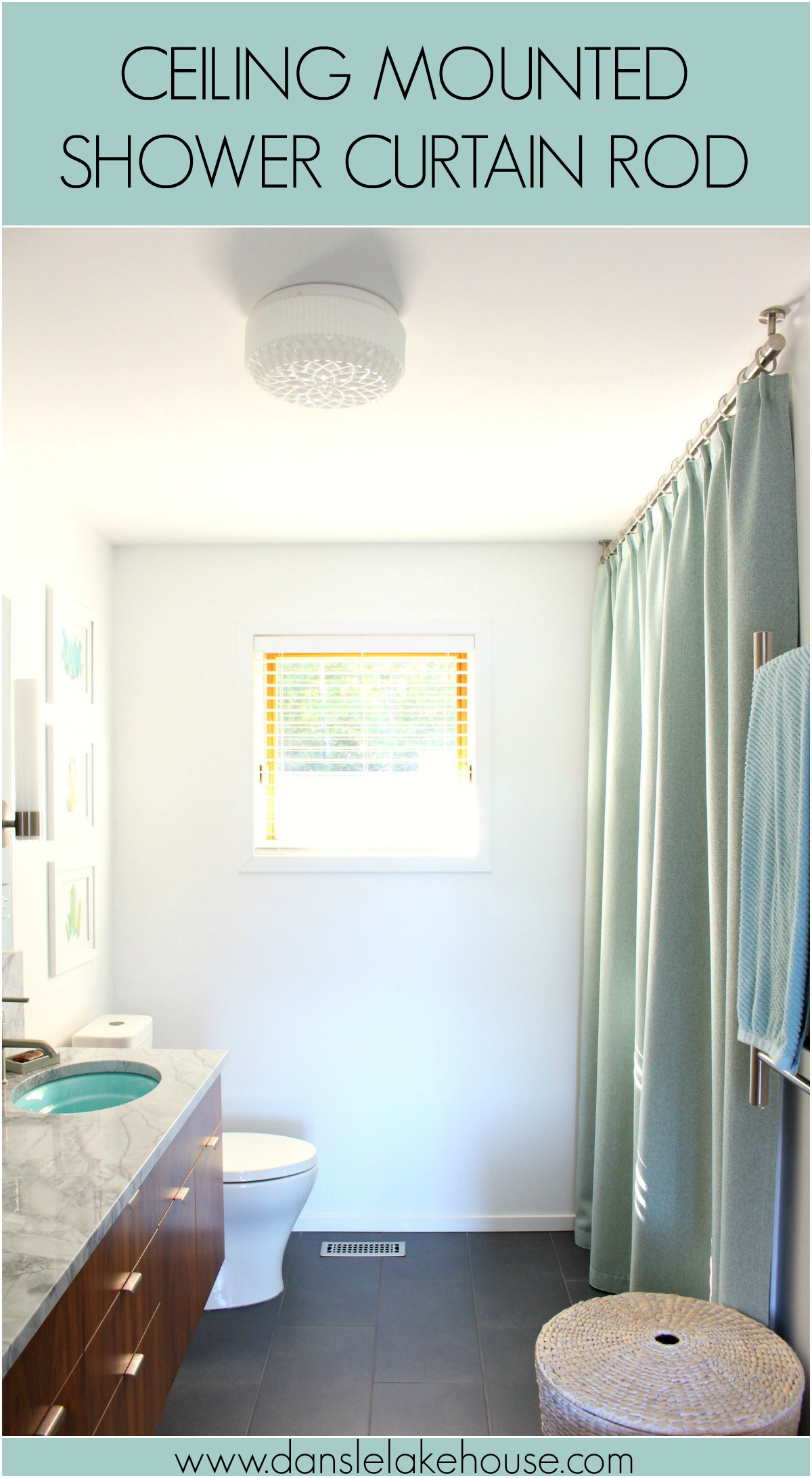 Bathroom Update: Ceiling Mounted Shower Curtain Rod + Turquoise Tweed Pleated Shower Curtain