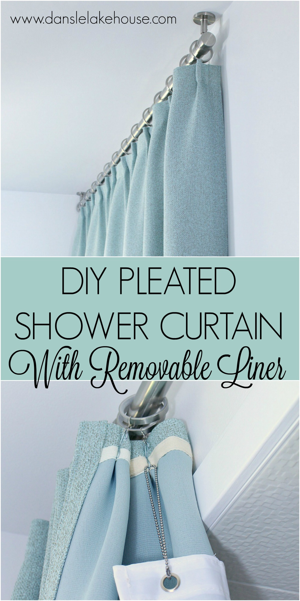 Bathroom Update: Ceiling Mounted Shower Curtain Rod + DIY Pleated Shower Curtain