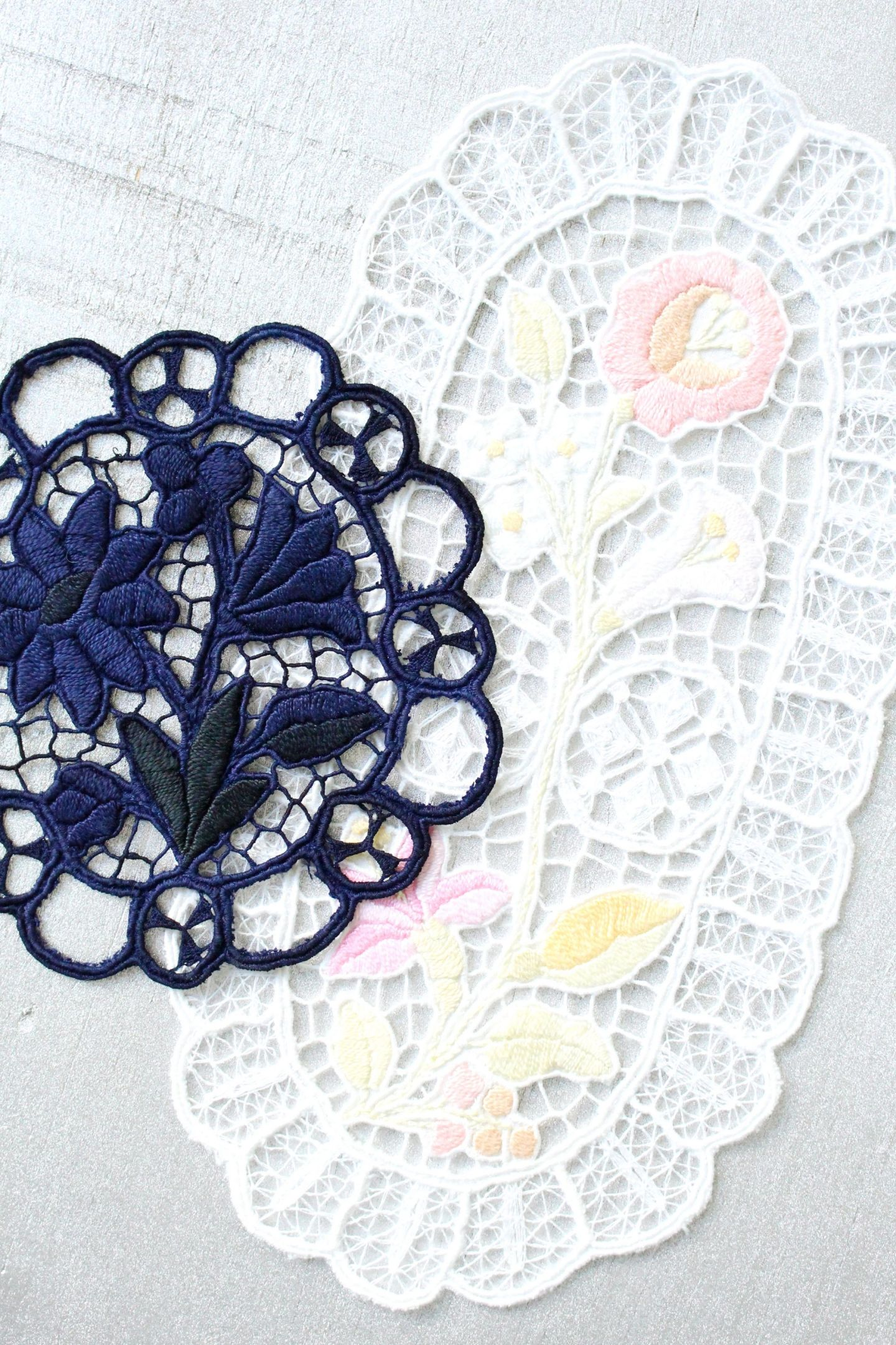 Bleached and Overdyed Embroidery
