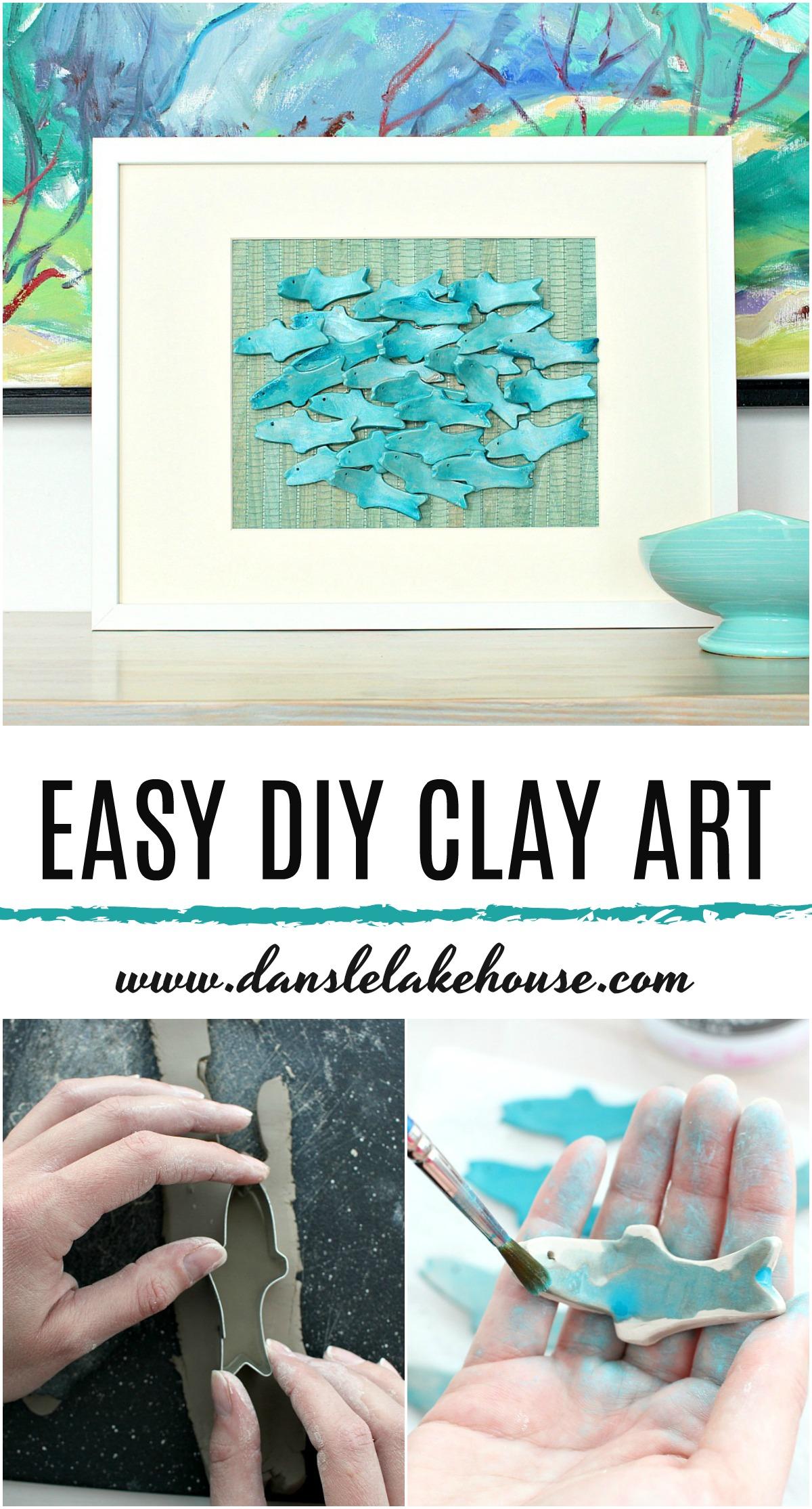 Easy DIY Clay Art. Cute Air Dry Clay Craft Project Idea: Sculptural 3D Fish Art with a Modern Coastal Style. #diyart #airdryclay #diyclay #clay #fish #moderncoastal