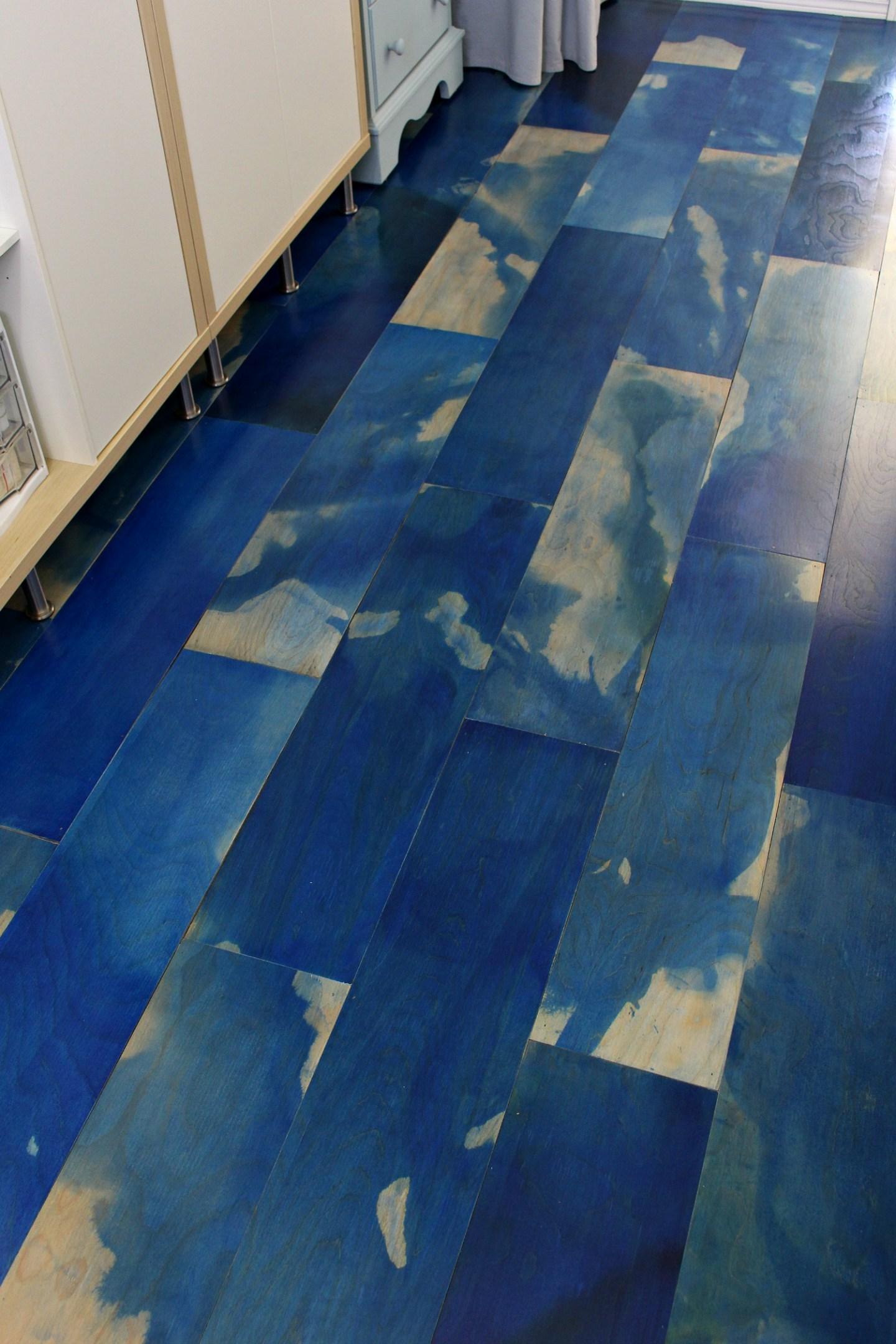 DIY Watercolor Plywood Floor