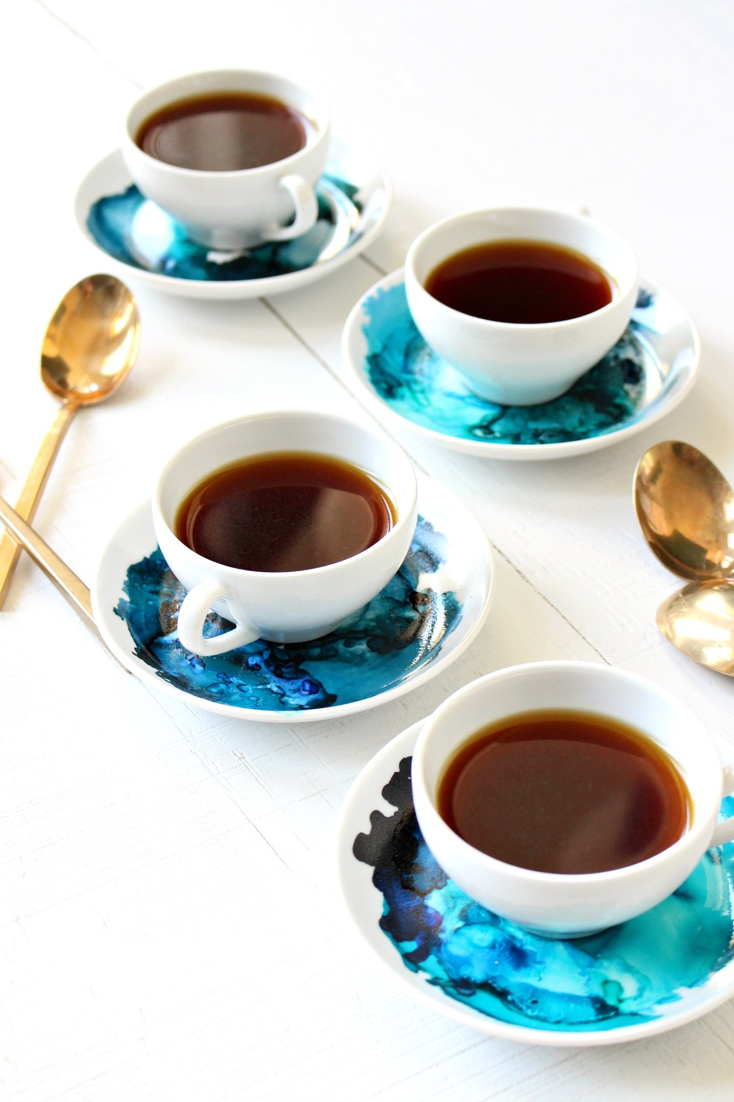 Alcohol Ink on China | DIY Marbled Espresso Set
