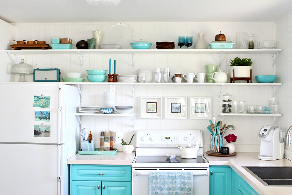 Blue Kitchen with Open Shelving