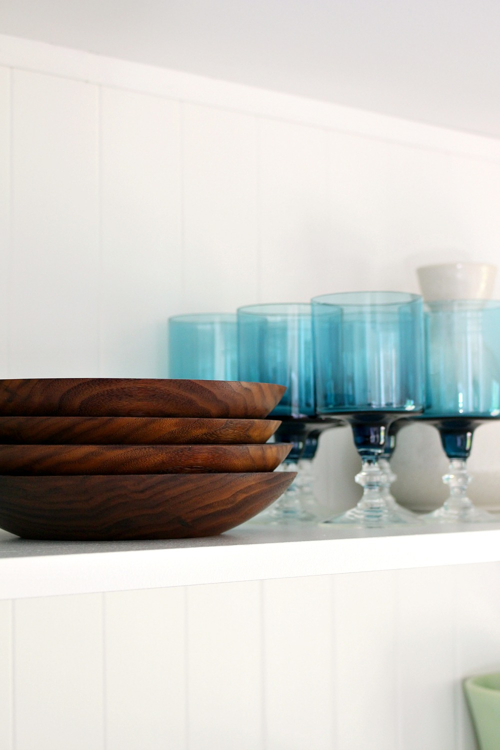 Walnut Salad Bowls on Open Shelving