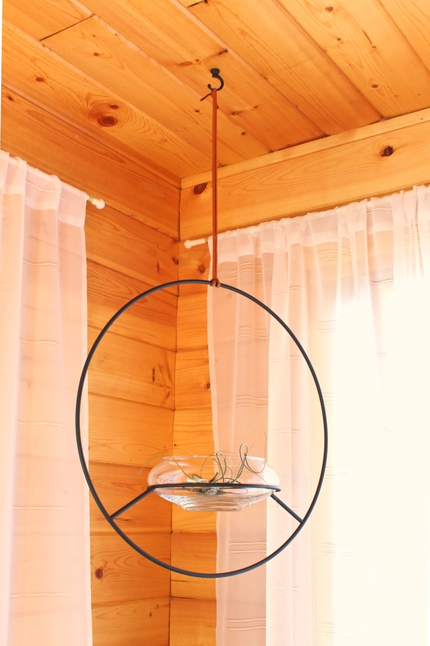 Hanging Hoop Planter with Leather Cord DIY