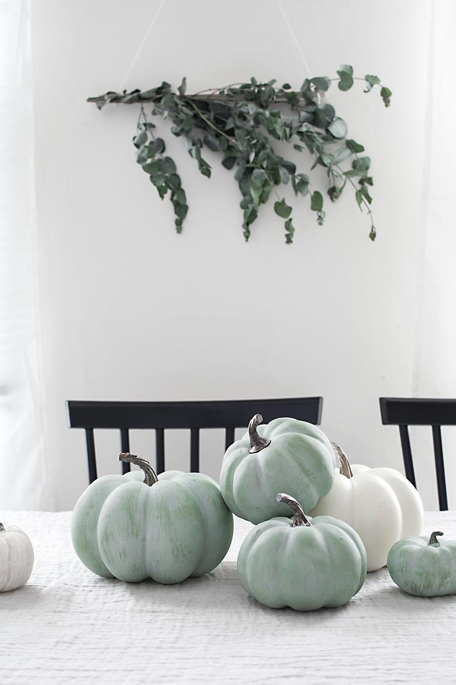 Faux Jade Painted Pumpkins