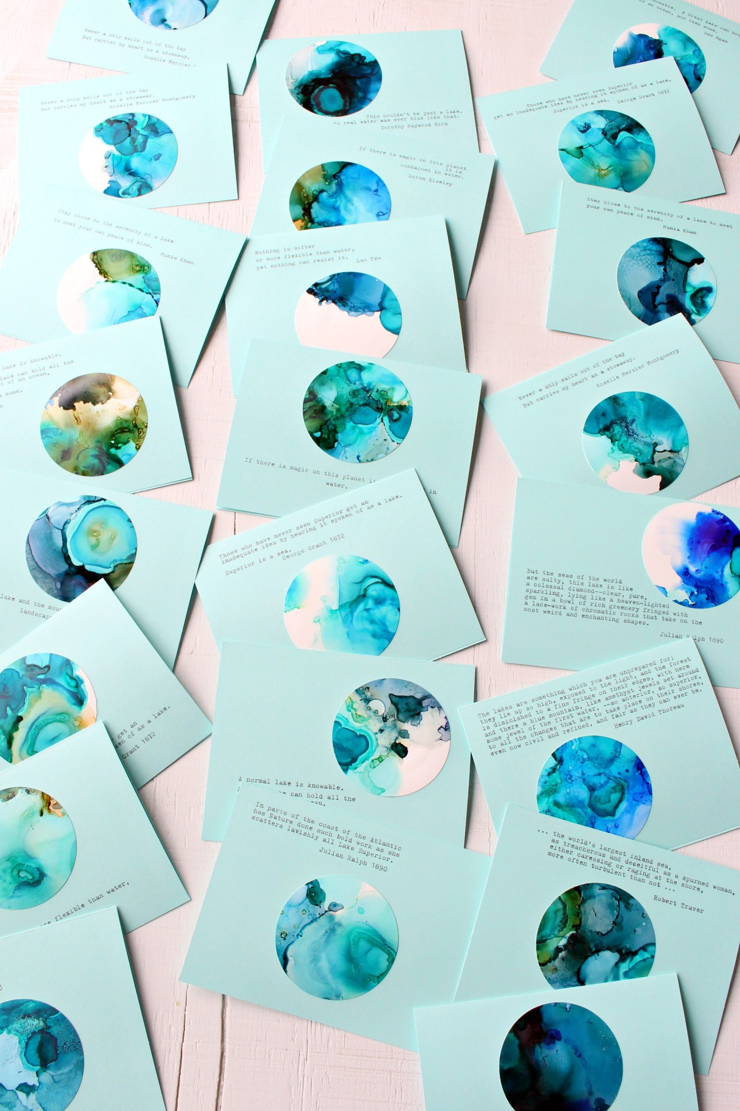 DIY Alcohol Ink Note Cards with Swirling Blues and Greens