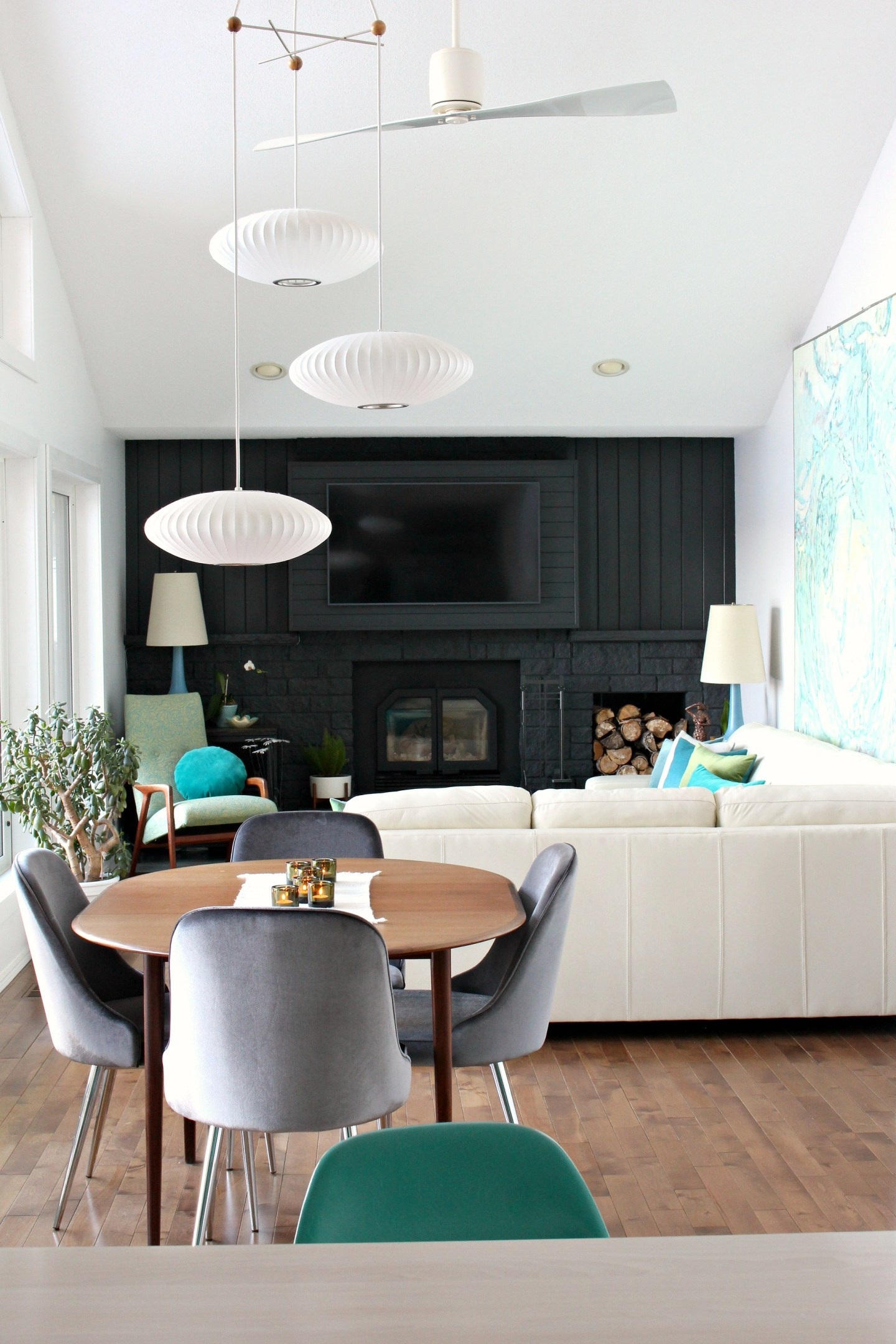 Black Fireplace Hides TV