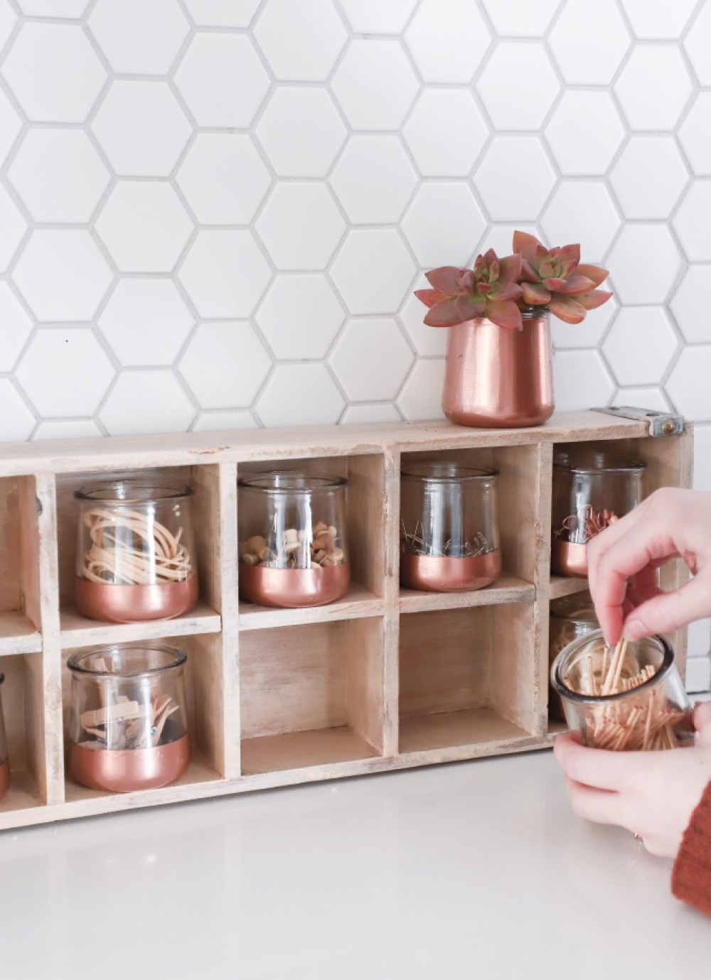 15 Stylish DIY Projects for Organizing Your Home: Upcycled Glass Jars #organizing #diy #diyhome #clutterbustingtips