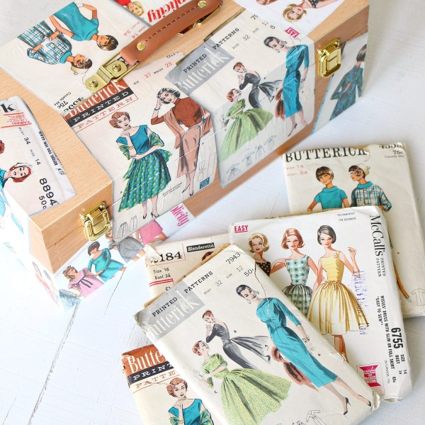 VINTAGE PATTERN DECOUPAGED SEWING BOX