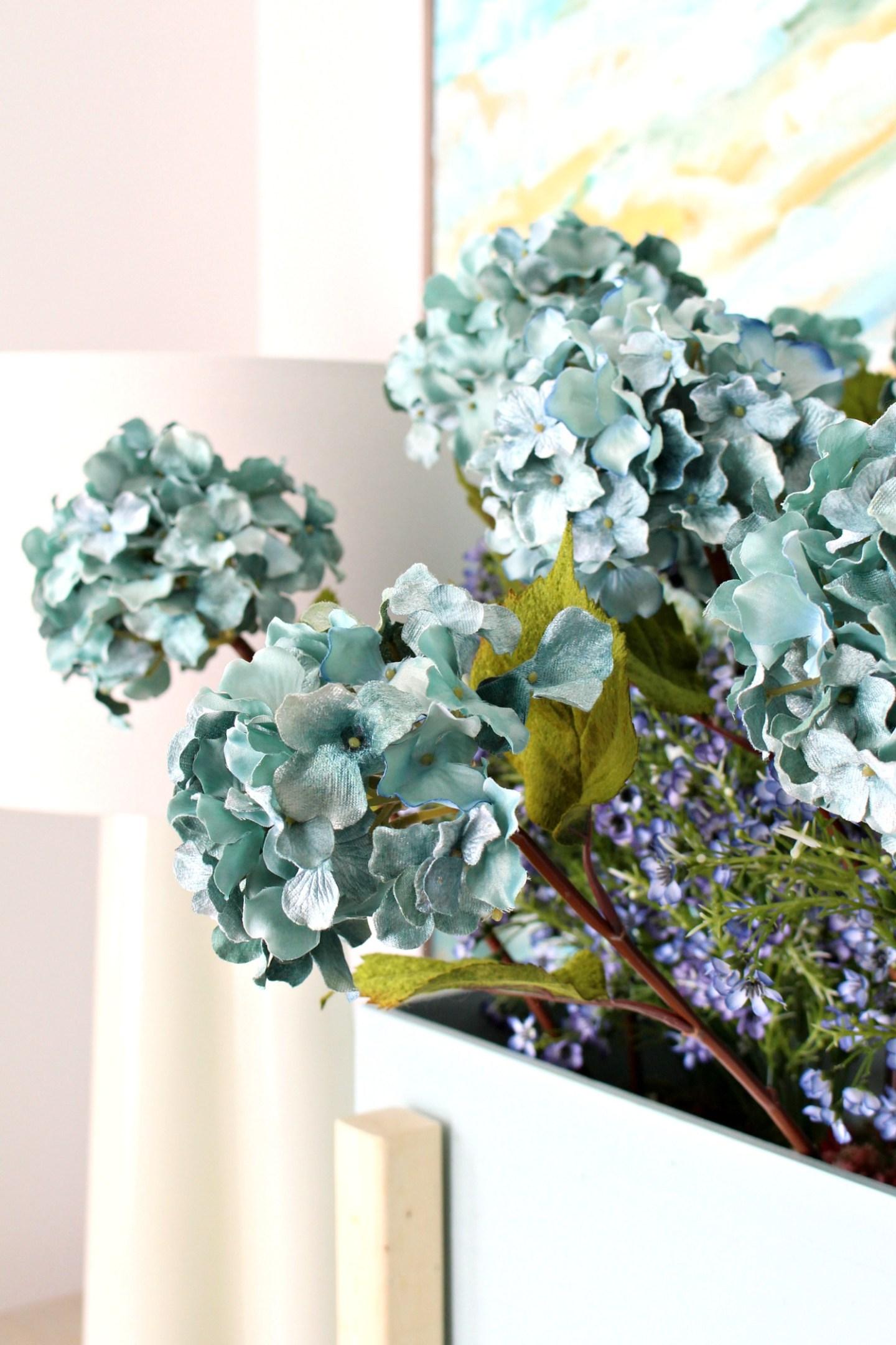 Turquoise Hydrangeas, Faux Velvet Flowers