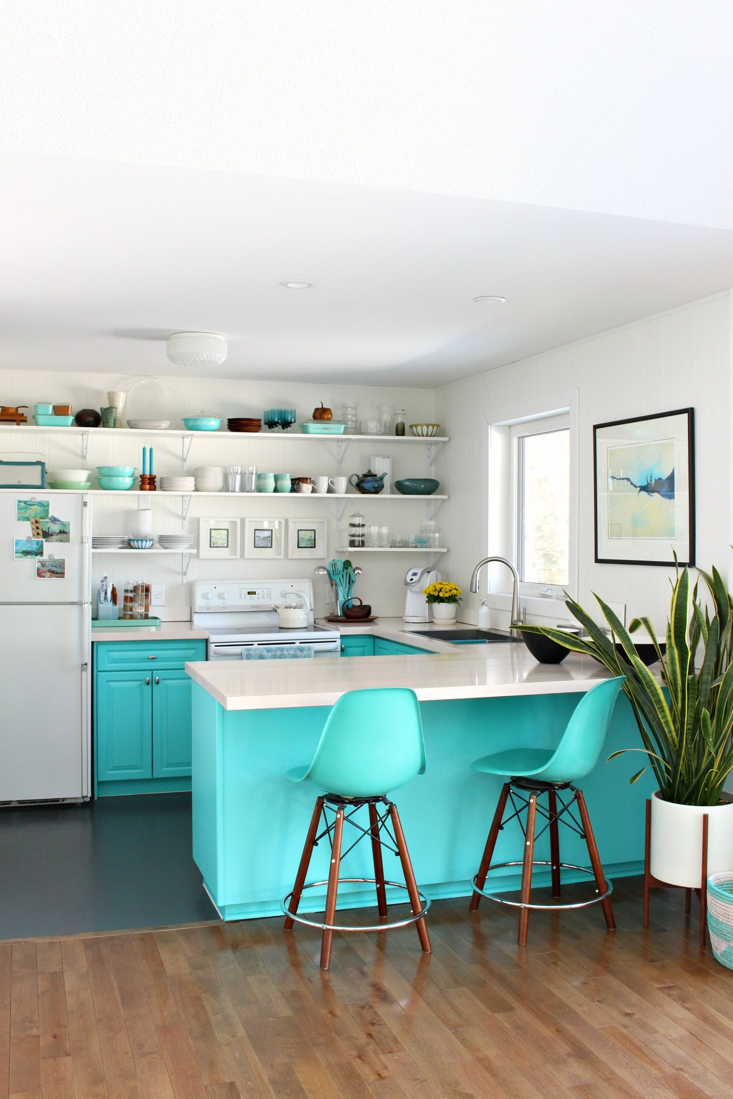 Turquoise Kitchen Cabinet Color