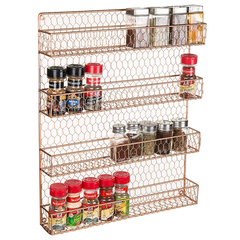 Modern Farmhouse Copper Chicken Wire Spice Rack