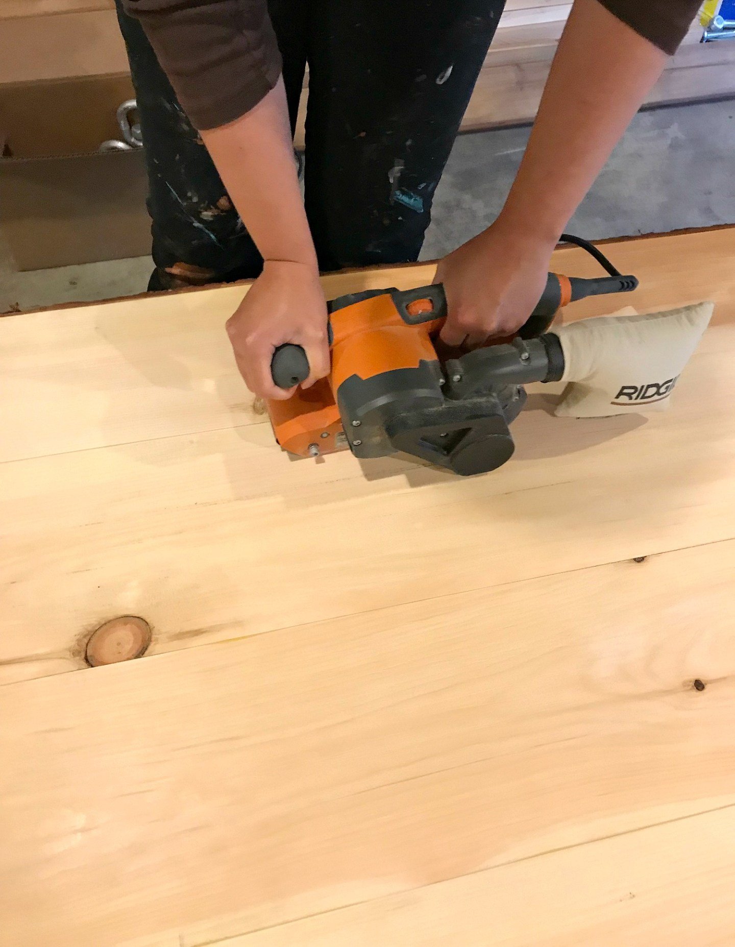 Sanding Pine Table Top