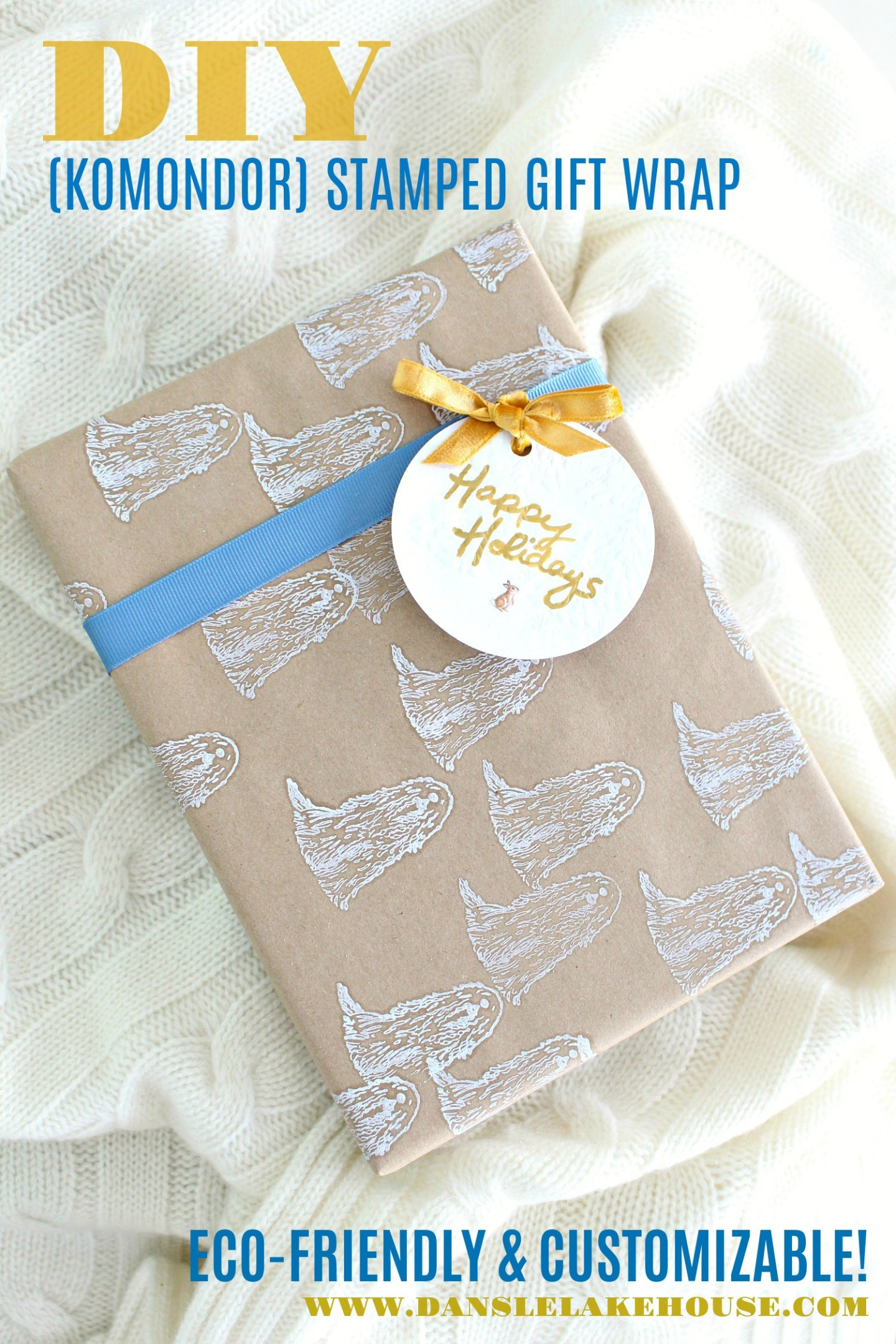 Zero Waste Gift Wrapping Idea: Komondor Stamped Wrapping Paper