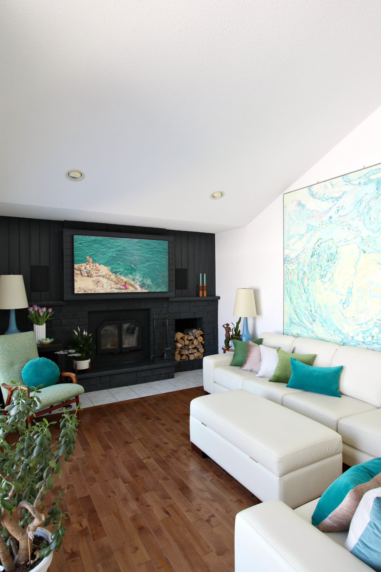 Fireplace Hack to Hang TV Above Fireplace with Speakers on Either Side