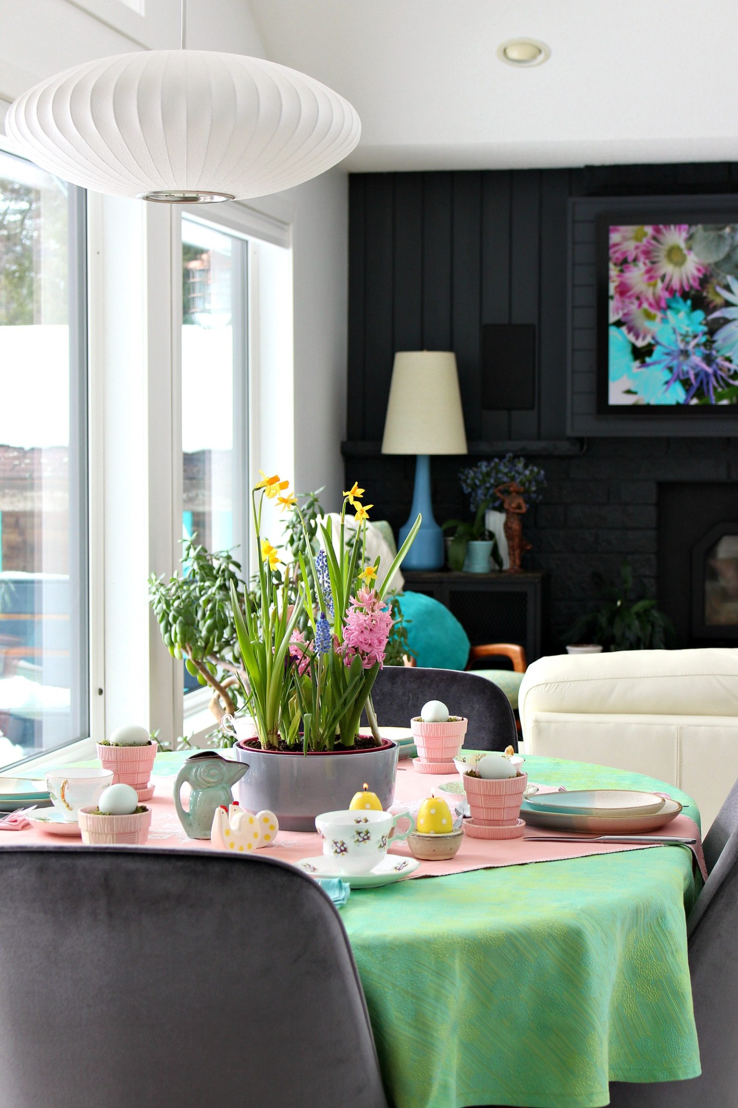 eclectic spring tablescape